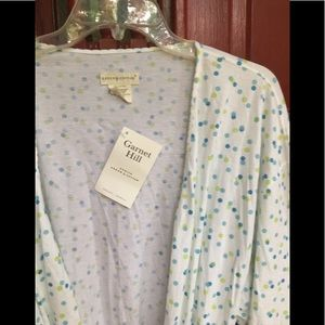 Garnet Hill robe NWT green cotton polka dot